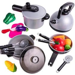 IPlay ILearn Kids Kitchen Pretend Play Toys Cooking Set Pots And Pans Cookware Playset Healthy Cutting Vegetables Knife Utensils