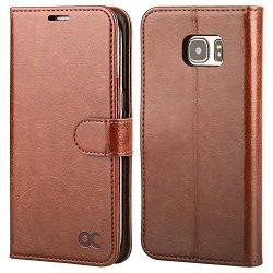 OCASE Galaxy S7 Edge Case Leather Wallet Flip Case For Samsung Galaxy S7 Edge Brown