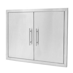 Stanbroil Outdoor Kitchen Stainless Steel Double Access Door With Built-in Shelves And Paper Towel Holder 31 Inches