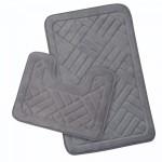 ALWAYS HOME 2 Piece Bath Mat Set Memory Faom Plain Grey