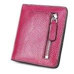 S-ZONE Women's Genuine Leather Rfid Blocking Bifold Pocket Small Wallet Coin Holder Purple