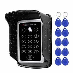 Hfeng Standalone Access Control Keypad Rfid Keyboard Waterproof Cover For Door Locks Access Control System + 10PCS Keychains