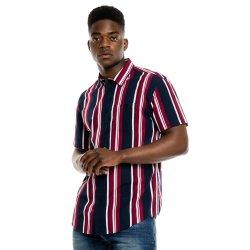 Mkm Stripe Cotton Shirt Navy Burgandy