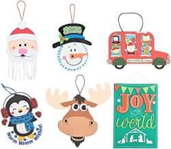 "USA Christmas Holidays Hanging Sign Craft Kits Set - Six 6 Kits - Snowman Christmas Countdown Sign Penguin Glitter Mosaic Moose & More - 7"" - 11"" - W"