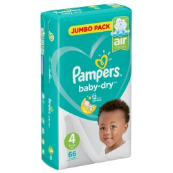 Pampers Active Baby Nappies Jumbo Maxi 66'S