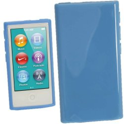 Igadgitz Blue Glossy Durable Crystal Gel Skin Tpu Case Cover For Apple Ipod Nano 7TH Generation 7G 16GB + Screen Protector