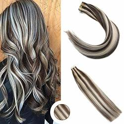 Weihai Ugeat Hair Ugeat 24INCH Double Weft Tape In Hair Extensions Dark Brown With Bleach Blonde Glue In Hair Extensions For Sho