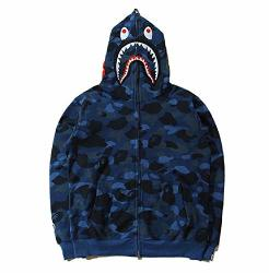 Hot Bathing Ape Bape Shark Jaw Camo Full Zipper Hoodie Men's Sweats Coat Jacket Blue M