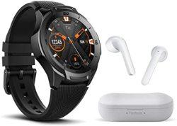 TICWATCH Bundle With S2 Smartwatch Us Military Grade Gps 5ATM Waterproof - Midnight + Ticpods 2 True Wireless Earbuds - Ice
