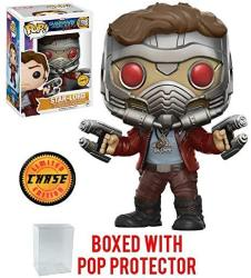 USAB Funko Pop Marvel: Guardians Of The Galaxy Vol. 2 - Star Lord Chase Variant Limited Edition Vinyl Figure Bundled With Pop Box Protector Case