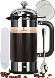 ZERLA French Coffee Press 8 Cup 1 Liter 34 Oz - Made With Heat-resistant Borosilicate Glass And Premium Stainless Steel - By