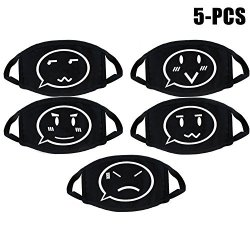 Aniwon 5PCS Mouth Mask Cotton Mask Kpop Cute Pattern Anti Dust Outdoor Face Mask For Men Women