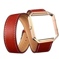 Voberry Luxury Long Leather Double Ring Watch Band Wrist Strap + Metal Frame For Fitbit Blaze Smart Watch Red