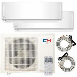 Cooper And Hunter Multi Zone Dual 2 Zone 12000 12000 Ductless MINI Split Air Conditioner Heat Pump Full Set Wifi Ready Energy St