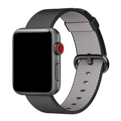 Platinum Woven Nylon Sports Strap For Apple Watch - Black 38MM
