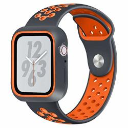 JP-DPP9 For Apple Watch Series 4 44MM Watchband Sport Loop Band Soft Silicone Sport Wrist Strap Replacement Bracelet Wristbands For Apple Iwatch Orange