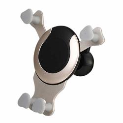 Car Phone Holder Gravity Air Vent Clip U-shape Pattern Cell Phone Mount Holder Rotate 360 Degrees Gold Holder Version