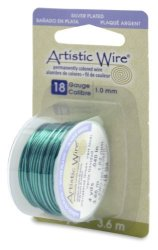 Beadalon Artistic Wire 18-GAUGE Silver Plated Christmas Green Wire 4-YARDS