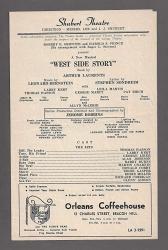 """USA Stephen Sondheim""""west Side Story"""" Leonard Bernstein larry Kert 1960 Boston Playbill"""
