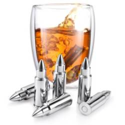 Whiskey Bullets Set - Steel Bullet Chillers With Tongs 6 Pcs