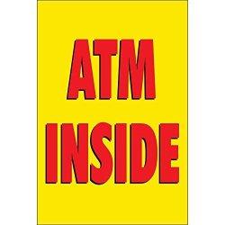 Half Price Banners Atm Inside Vinyl Banner -indoor outdoor 3X2 Foot -yellow Includes Ball Bungees & Zip Ties Easy Hang Sign-made In Usa