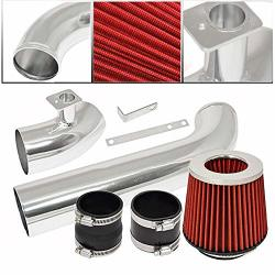 For 1992-1998 Bmw E36 3-SERIES 6 Cylinder Engine Only Aluminum High Flow Cold Air Intake System Polish Pipe With Air Filter Red
