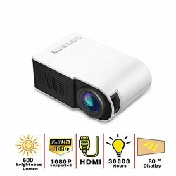 Projector MINI Projector 3D Portable Projector LED MINI Portable Projector 600 Lumen 3.5MM Audio Support HD 1080P USB Playback HDMI Home Projector Media Player 210WHITE