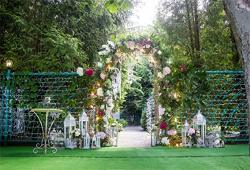 Leyiyi 10X6.5FT Wedding Ceremony Nature Park Backdrop Marriage Curtain Floral Garland Arch Door Summer Forest Background Engagement Stage Bridal Shower Adults Photo Portrait Studio