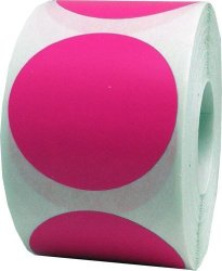 InStockLabels.com Hot Pink Color Coding Labels Round Circle Dots 2 Inch 500 Total Adhesive Stickers
