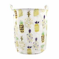 Orino Pineapple Storage Baskets 19 X 16.5 Inches Laundry Hamper Yellow