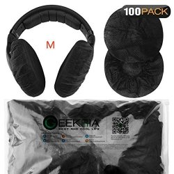 Stretchable Headphone Covers disposable Sanitary Earcup Earpad Covers Fits Medium large-sized Headset 200 Pcs 100 Pairs Black