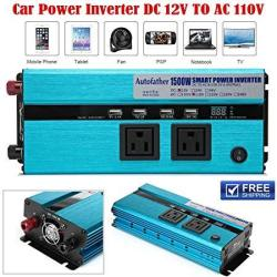 Auto Power Inverter 1500W With 4 USB Ports + 2 Outlets + Cigarette Plug Cord + Battery Clamps - 12V Dc To Ac 110V