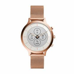 Women's Fossil Charter Hr Heart Rate Stainless Steel Mesh Hybrid Smartwatch Color: Rose Gold FTW7014