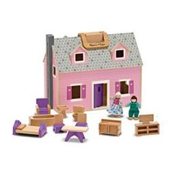 IKura Express Melissa & Doug Fold And Go Wooden Doll's House With 2 Dolls And Wooden Furniture