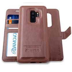 AMOVO Galaxy S9 Plus Case 2 In 1 Samsung Galaxy S9 Plus Wallet Case Detachable Wallet Folio Premium Vegan Leather Samsung S9 Plu