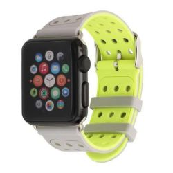 Silicon Sports Strap For Apple Watch - Grey & Yellow 42MM