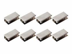 GLASS Shelf Brackets Rectangular Shelf Clips Metal Clamps Brushed Nickel Wall Mounted Adjustable 6-10MM For Acrylic Wood Set Of 8