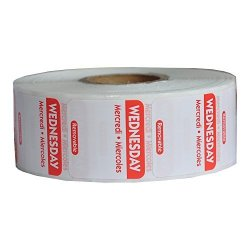 Day Of The Week Trilingual Rotation Label 1 X 1 Inch Removable Label Roll Of 1000 Wednesday