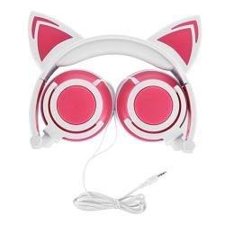 OUTOS Cat Headphones Rechargeable Cute Cat Ear Headphones With LED Flashing Glowing Lights Fold-able Over Ear Cos-play Fancy Hea