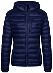 Wantdo Women's Hooded Packable Ultra Light Weight Down Jacket Navy XL