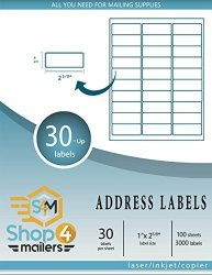 """SHOP4MAILERS 30-UP White Shipping Labels 1"""" X 2 5 8"""" 100 Sheets 3000 Labels"""