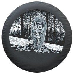 Boomerang 29 30 Wildlife Tire Cover - Black Denim Vinyl - Mountain Lion