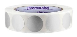 """Chromalabel.com 1"""" Silver Color Code Dot Labels On Cores - Permanent Adhesive 1.00 Inch - 1 000 ROLL"""