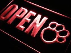 ADV PRO J792-R Open Dog Paw Print Grooming Shop Neon Light Sign