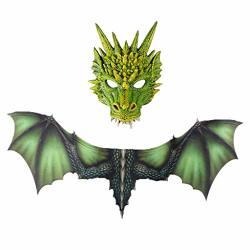 Evil Dragon Costume Accessory Dragon Animals Face Mask + Realistic Detail Wings Set For Halloween Cosplay Role Play Show Party Green