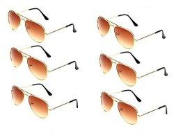 JF Store Wodison Classic Kids Aviator Sunglasses Bulk Reflective Metal Frame Children Eyeglass 6 Pack