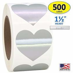 "Silver Heart Shaped Sticker Labels 1 1 2"" Diameter 500 Per Roll 1.5 Inch"