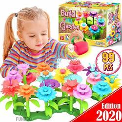 Funzbo Flower Garden Building Stem Toys - Gardening Pretend Gift For Girls Kids Toy - Educational Activity For Preschool Children Age 3 4 5