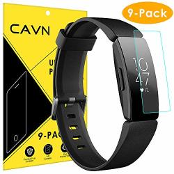 Cavn Compatible With Fitbit Inspire inspire Hr Screen Protector 9-PACK HD Anti-bubble Full Coverage Screen Guard Film Accessory Cover Saver Shield Compatible 2019 Inspire inspire Hr
