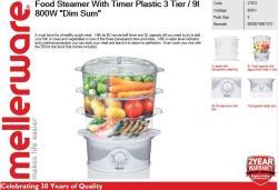"Mellerware Food Steamer With Timer Plastic 3 Tier 9L 800W ""dim Sum"